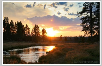 Sunset at Gibbon River (Yellowstone National Park)