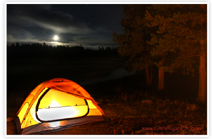 Moon over Campground in Yellowstone